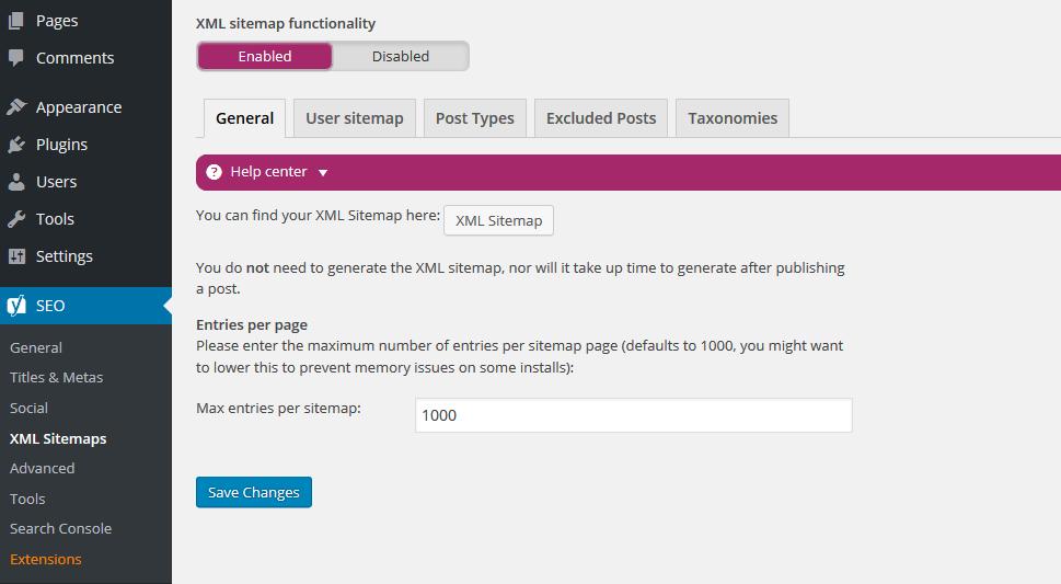 cara setting Yoast XML Sitemaps - general