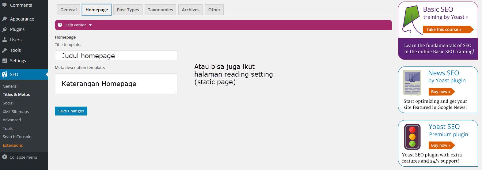 cara setting yoast general - metas homepage