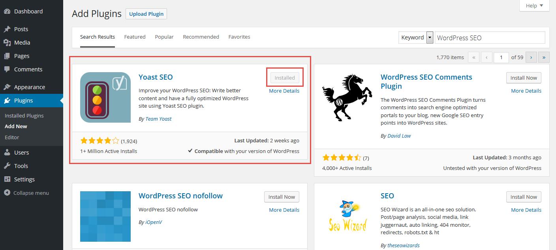 Langkah ke 3 click install now wordpress seo