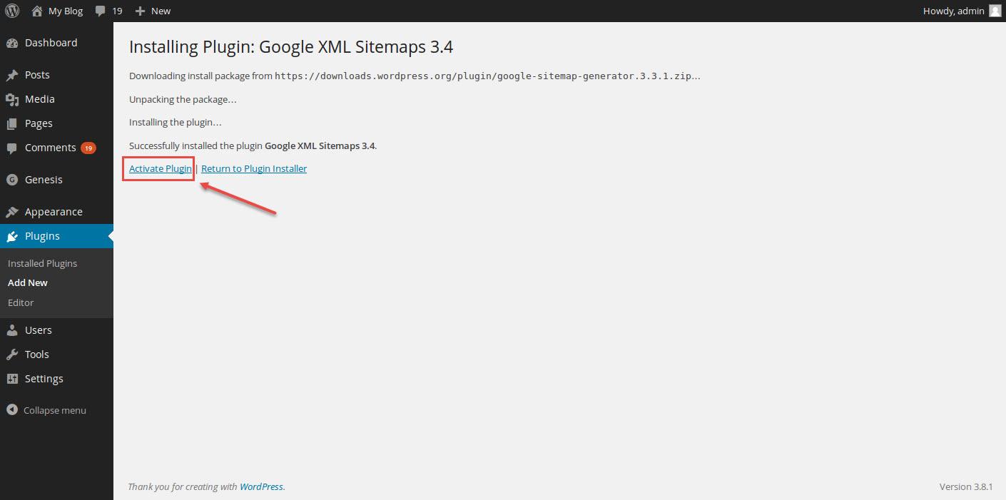 google xml sitemaps activate plugin