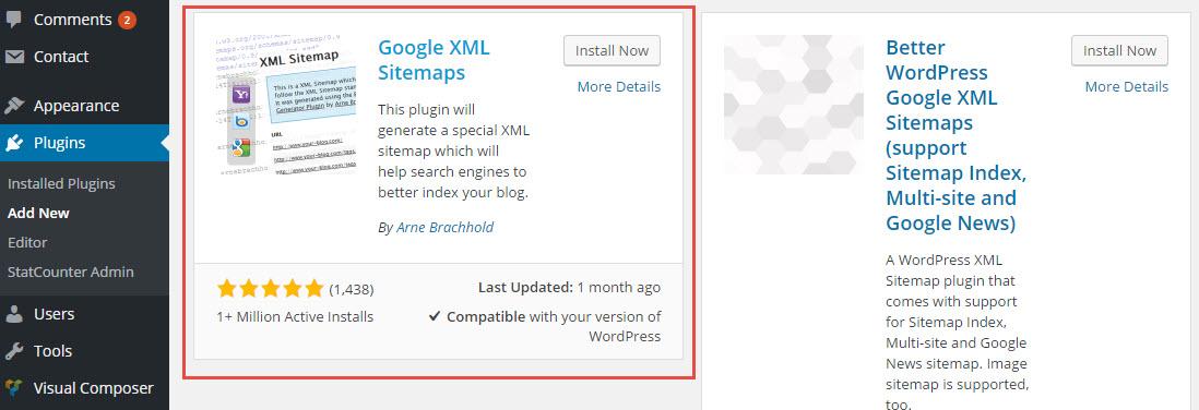 google xml sitemaps pilih plugin