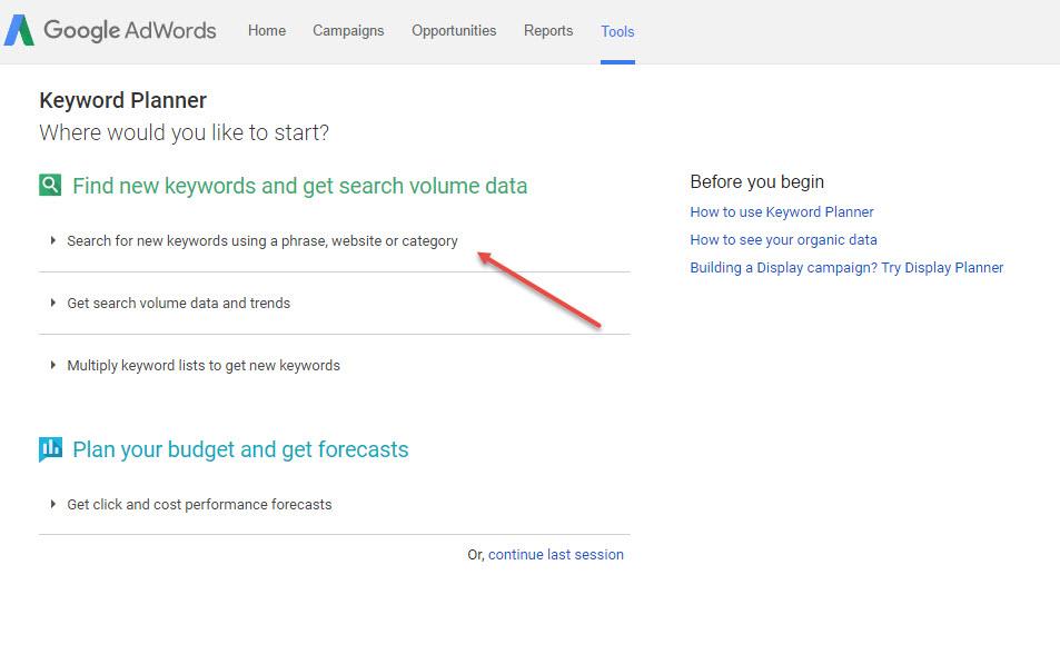 Search for new keyword