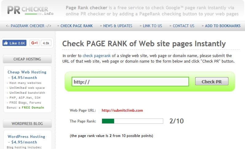 mengecek page rank dengan prchecker