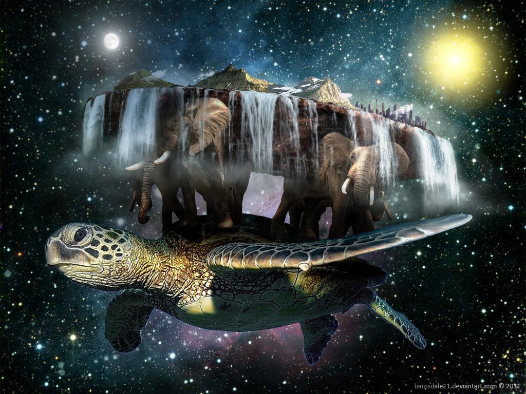 Bumi di topang gajah dan kura kura