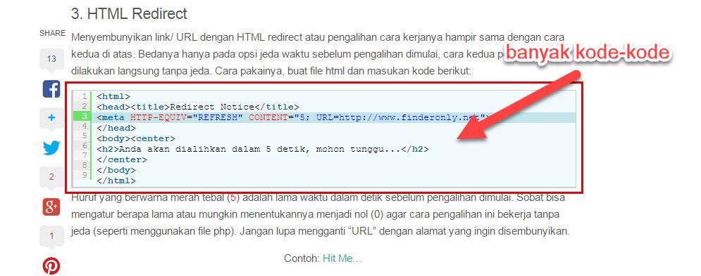 menyembunyikan link dengan html