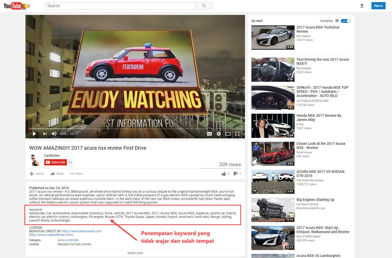 contoh penempatan keyword YouTube yang salah