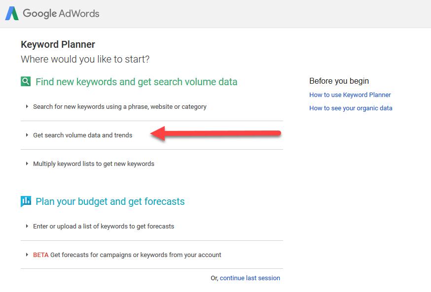 Google Keyword Planner pilihan kedua