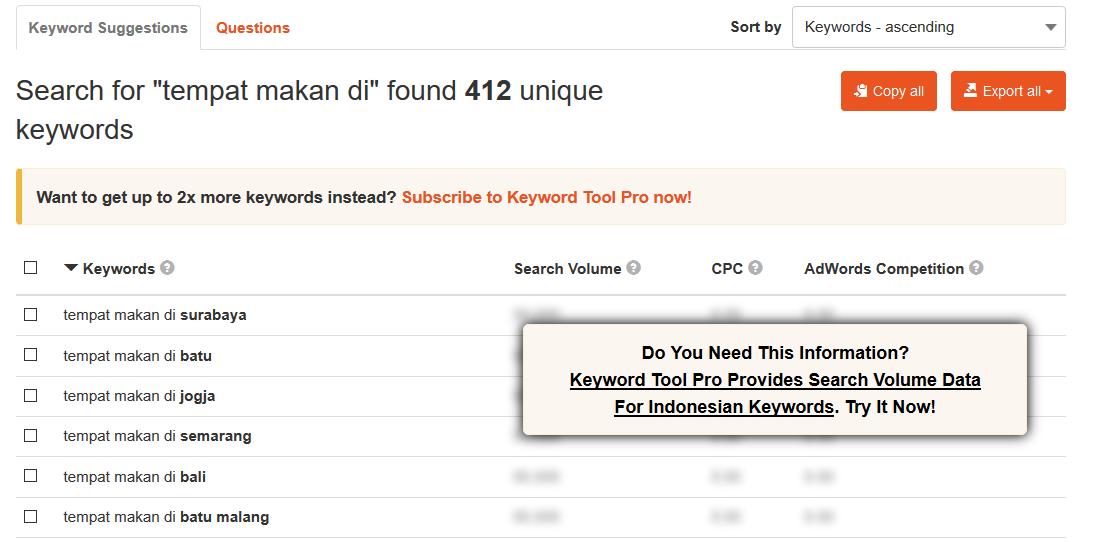 Hasil pencarian di KeywordTool io