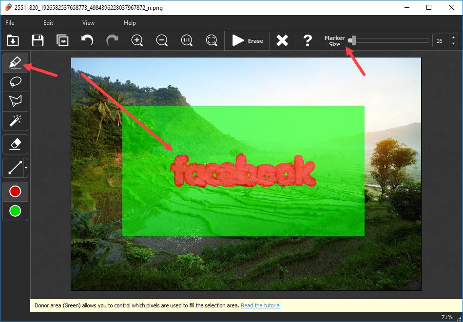 menghapus watermark gambar dengan inpaint marker