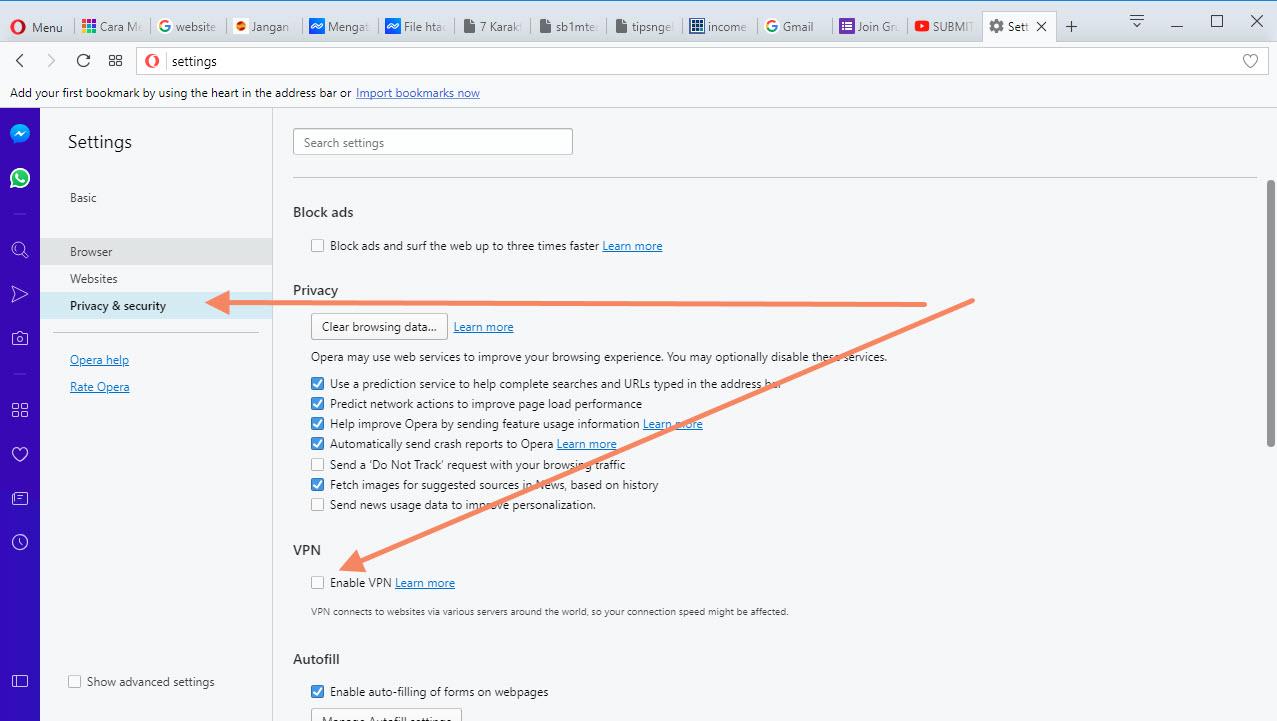Langkah Kedua Opera VPN