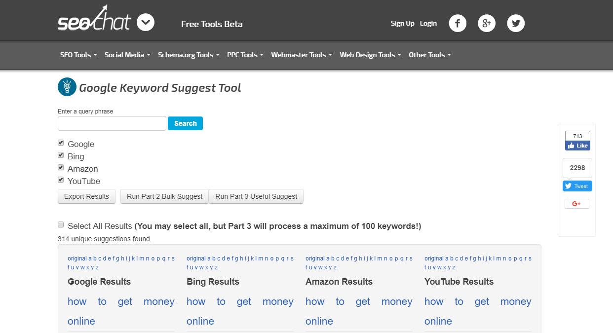 SEO Chat Keyword tool