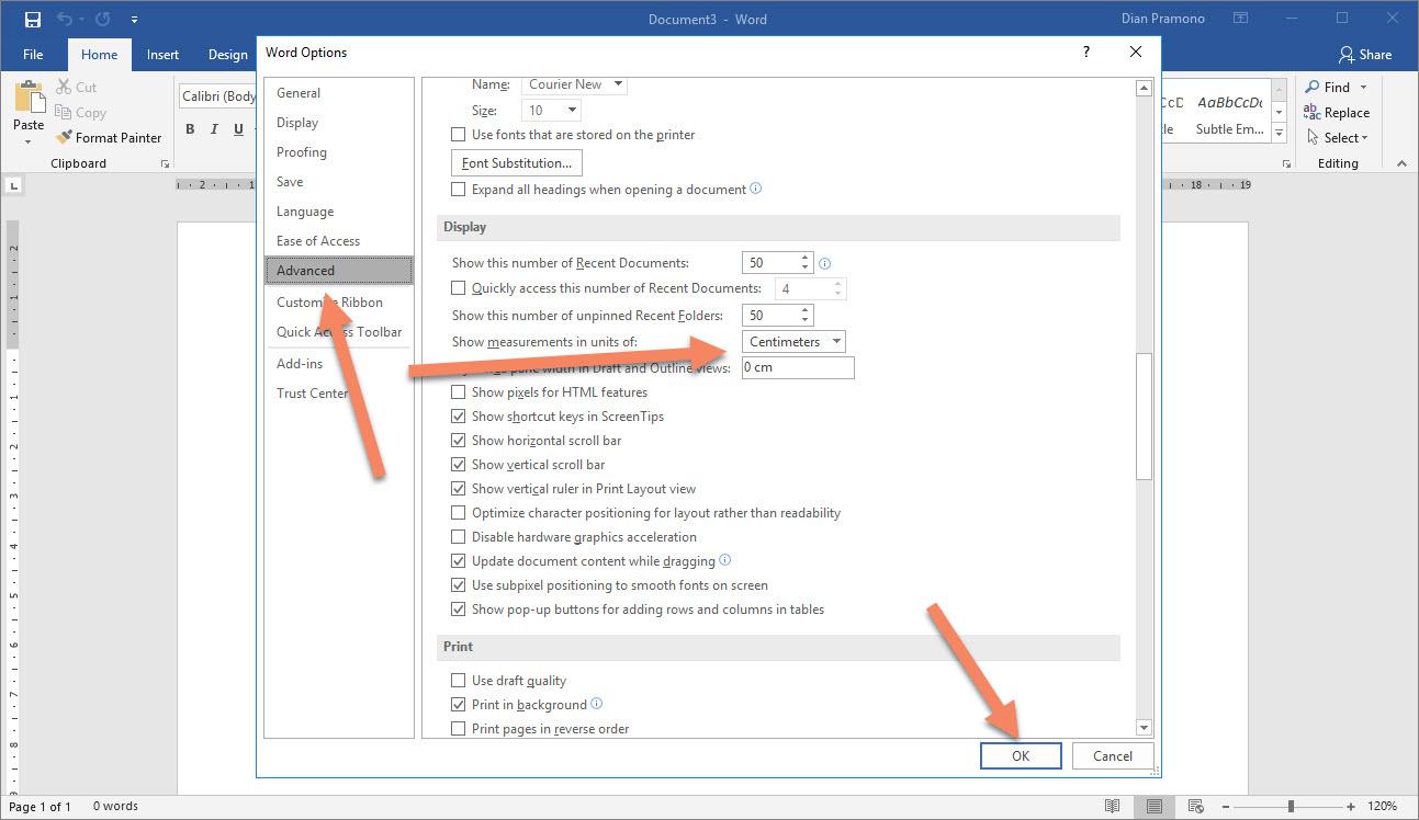 Cara Merubah Satuan Inchi ke CM di Microsoft Word