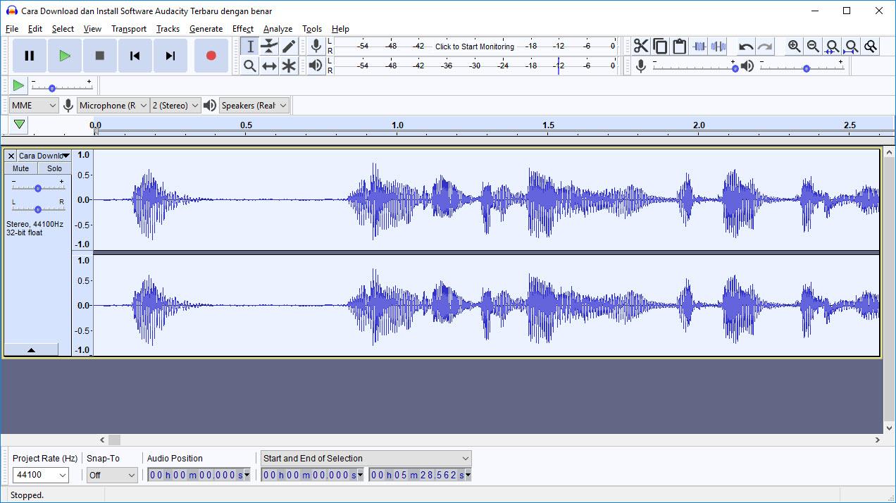 Audacity Audio bersih dari noise 04