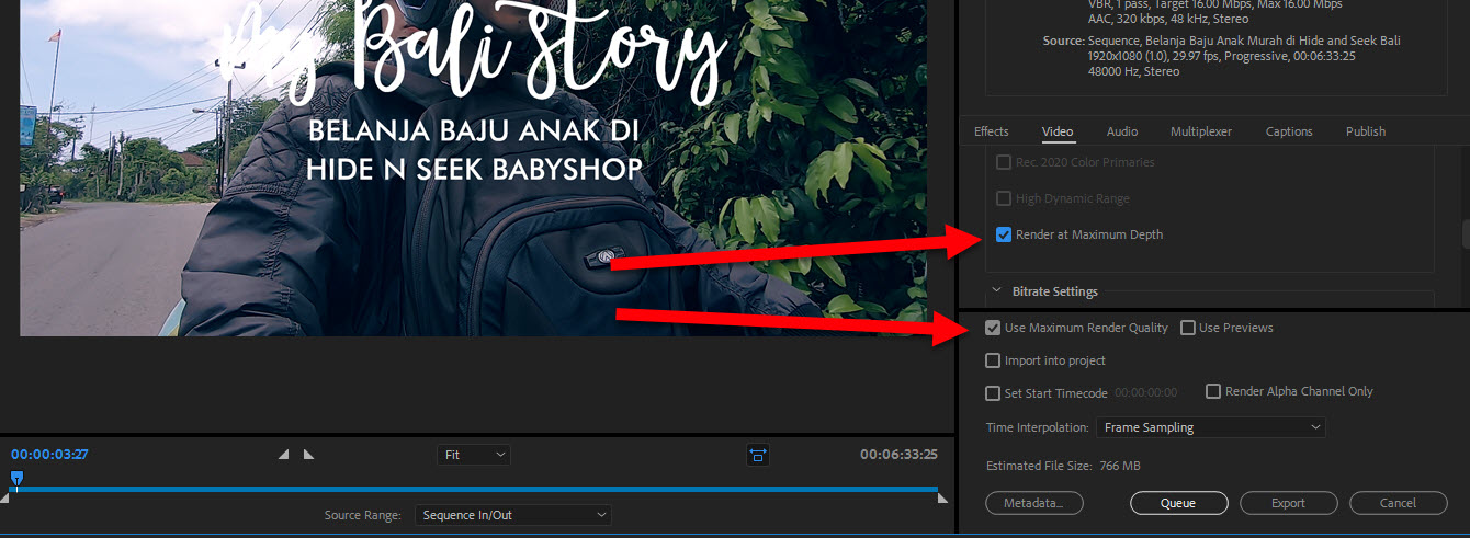 Use Maximum Render Quality Adobe Premiere