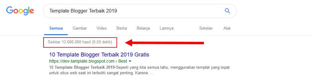 jumlah pencarian template blogger terbaik 2019