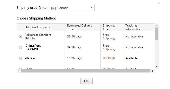 Pengiriman di Aliexpress - ship my order to canada