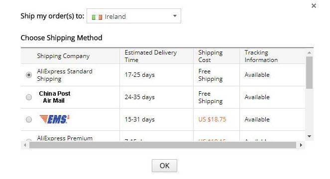 Aliexpress ship my order to ireland