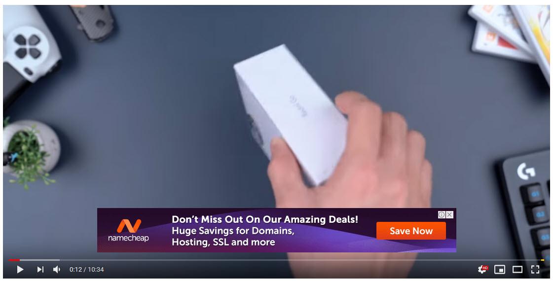 Contoh tampilan iklan gambar GDN yang tayang di YouTube