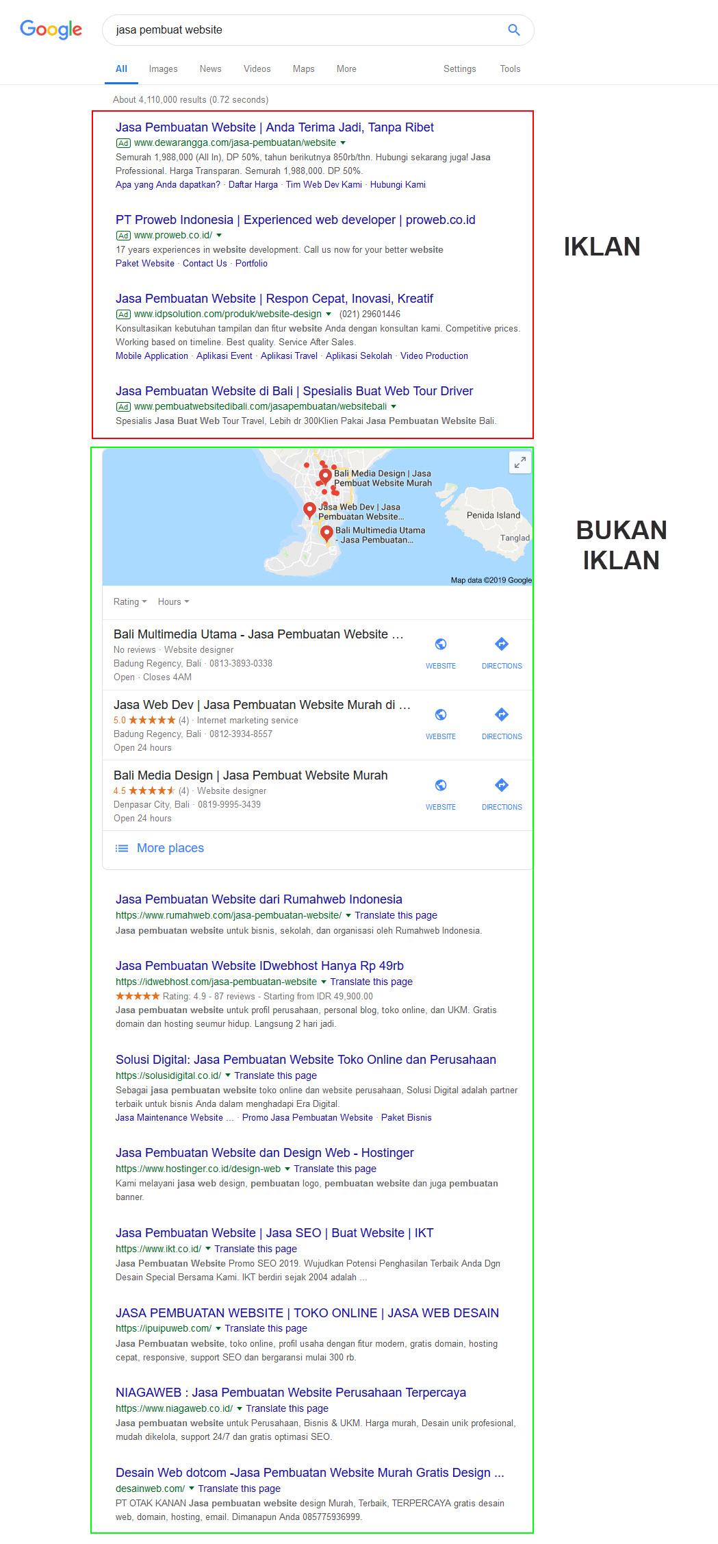 Contoh tampilan iklan teks Google Ads