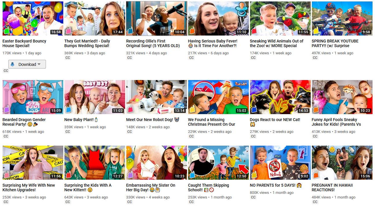 contoh thumbnails Daily Bumps
