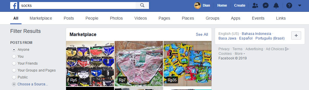 Go to Facebook search and type your targeted keyword