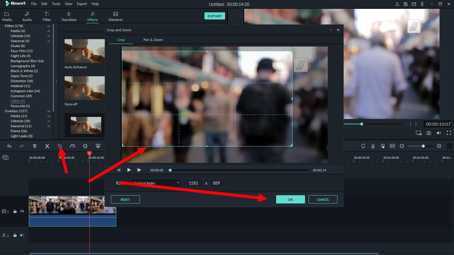 menghapus watermark dengan croping video