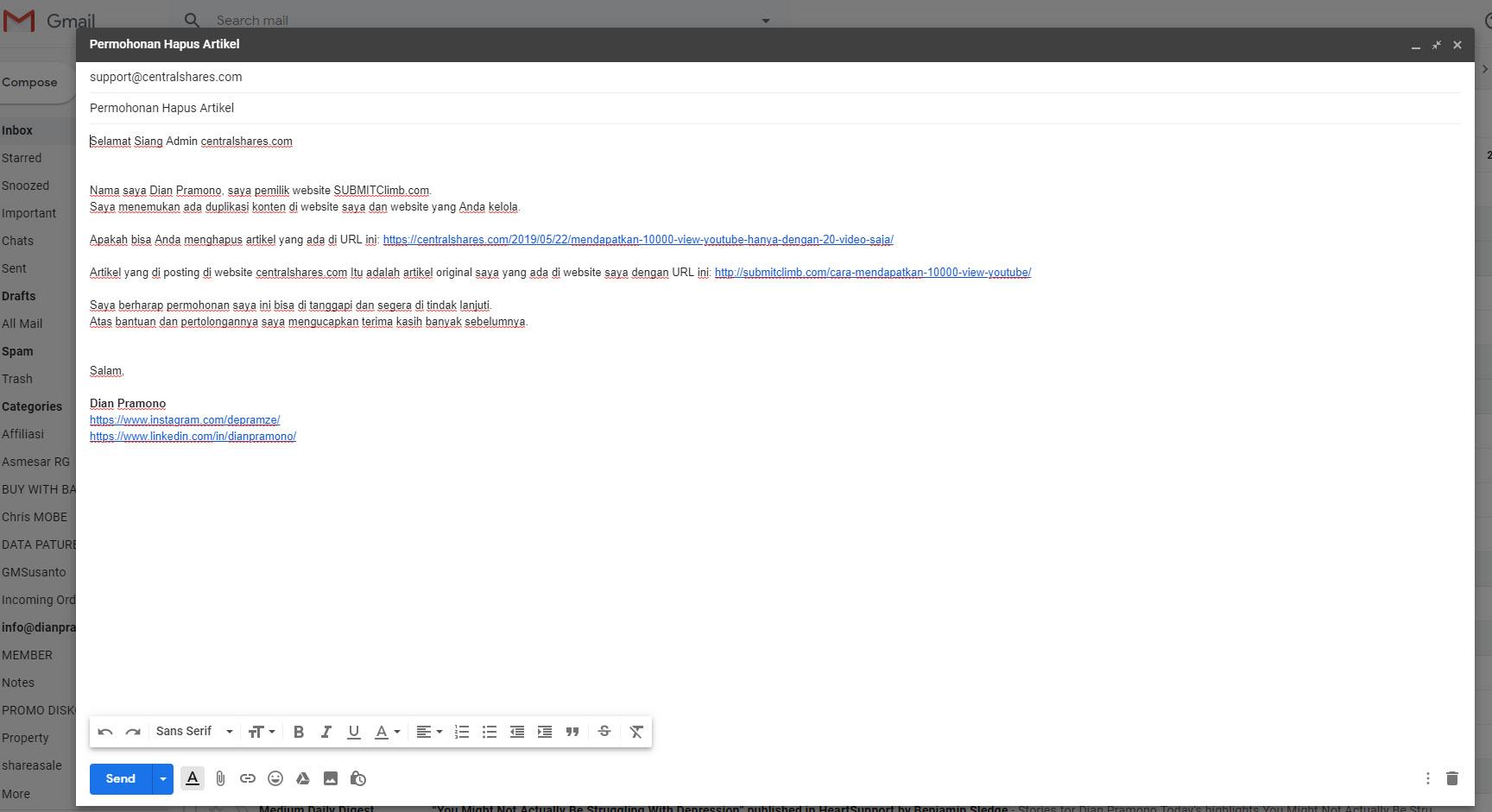 mengirim email minta yang copy artikel di hapus