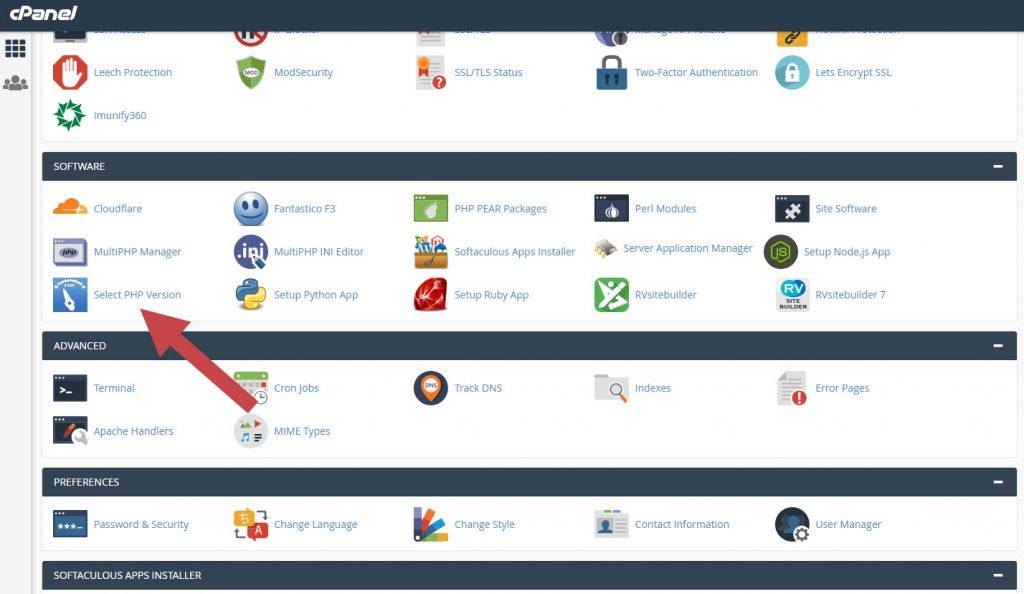 Pilih sofware lalu select PHP version