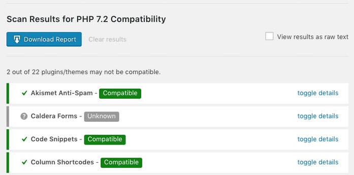 hasil scan dan result pengecekan PHP