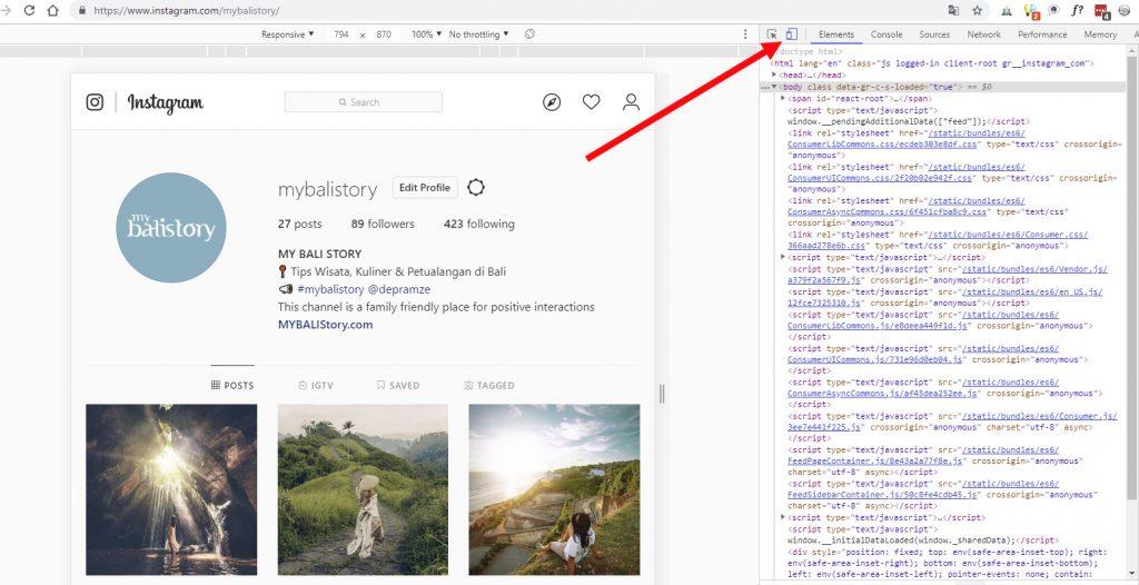 klik ikon HP di chrome untuk instagram