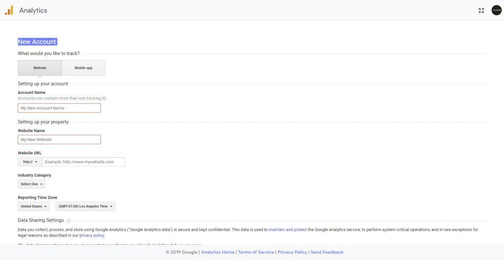mengisi form pendaftaran google analytics