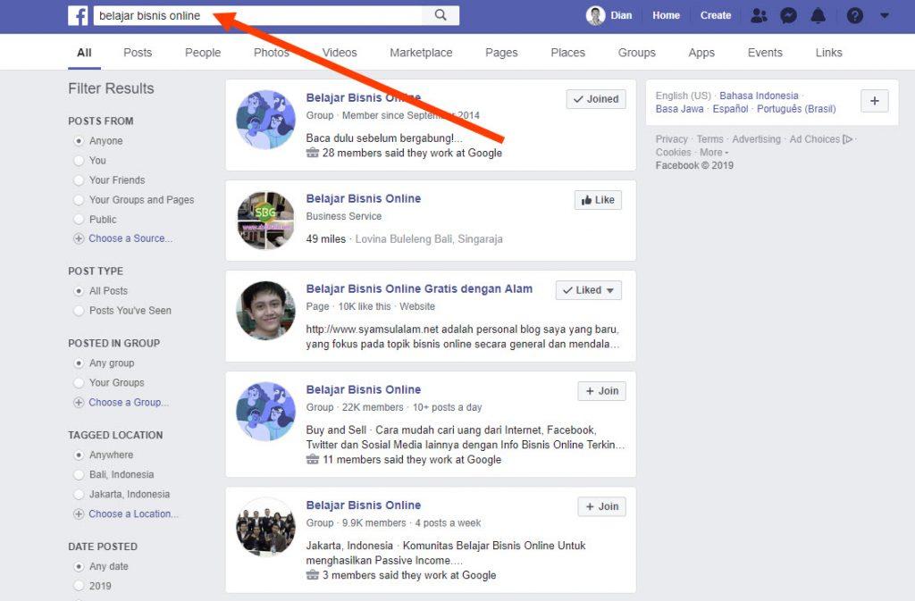 Mencari page saingan di Facebook 3