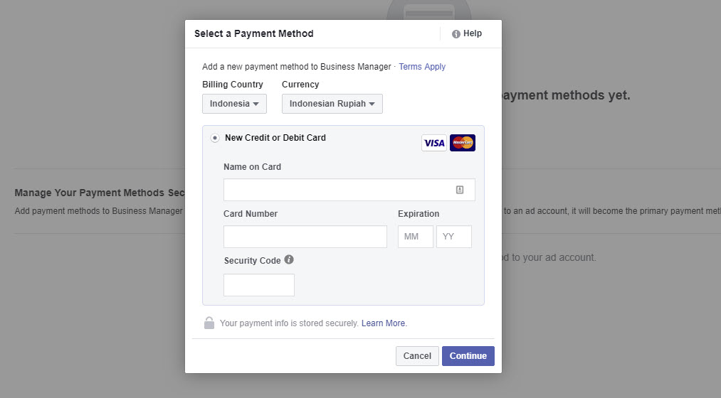Select Payment Method FB Ads 21