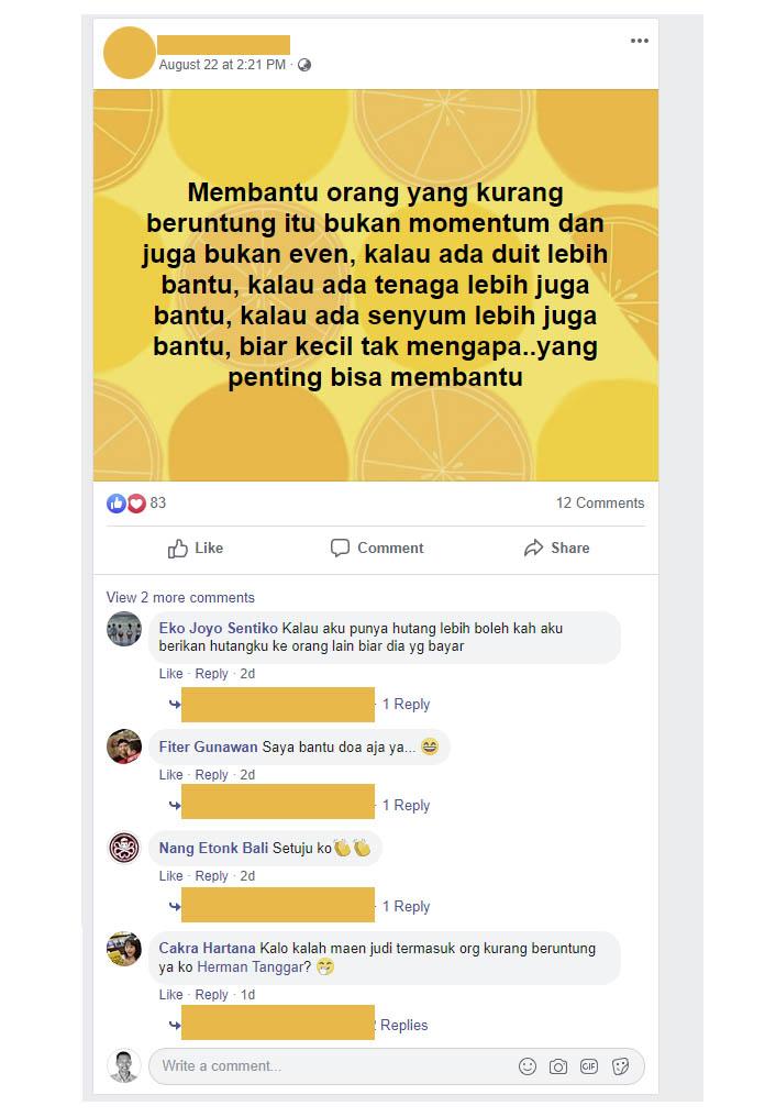 Status Facebook Herman Tanggar Pie Susu Bali Bli Man tidak menjawab komentar