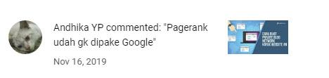 PageRank Sudah tidak di pakai