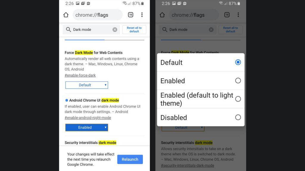 Android Chrome UI Dark Mode