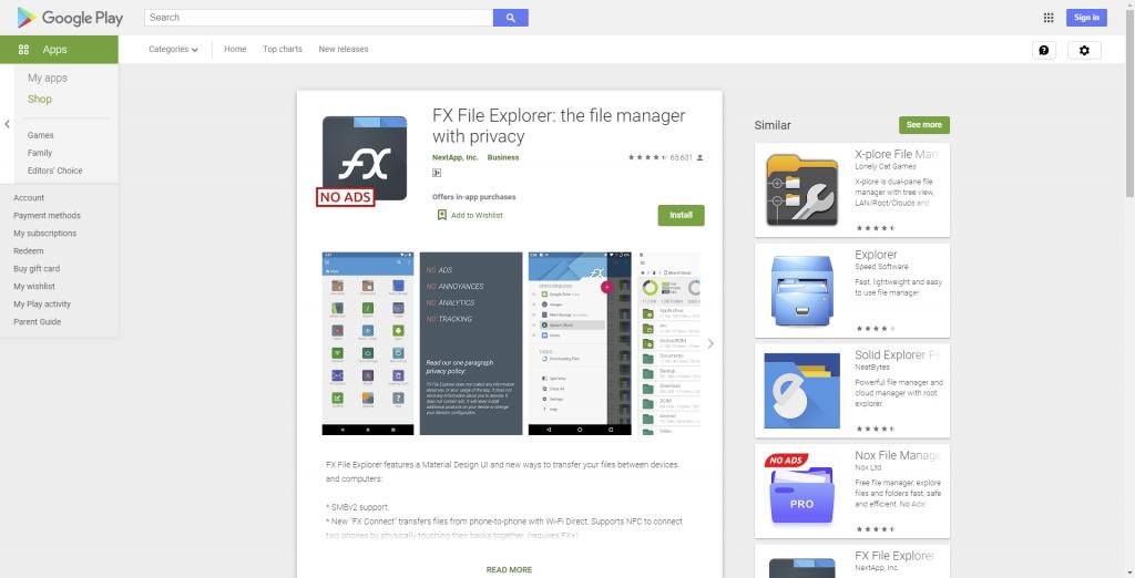 FX File Explorer untuk buka zip di HP