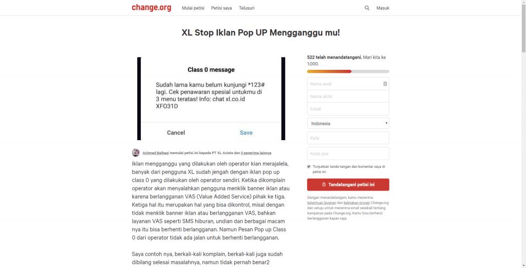 petisi soal sms komersial xl