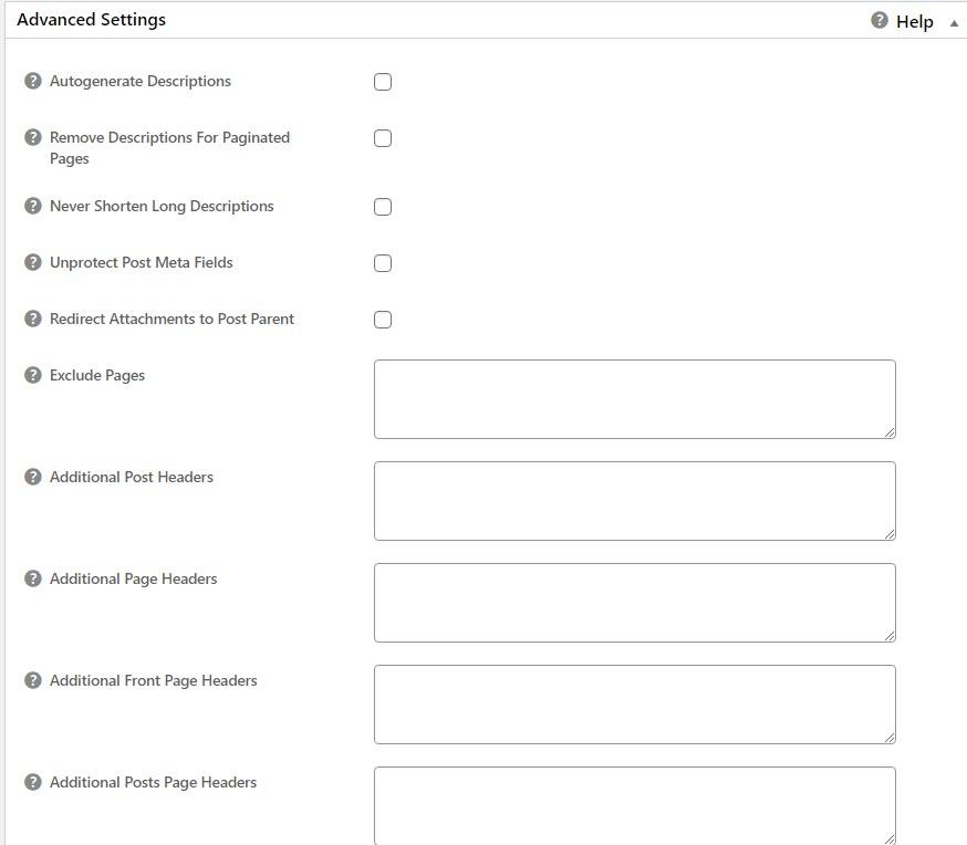 Mengatur kolom advanced settings