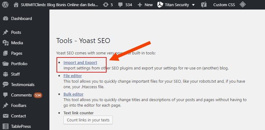 Pengaturan Yoast untuk export seo setting