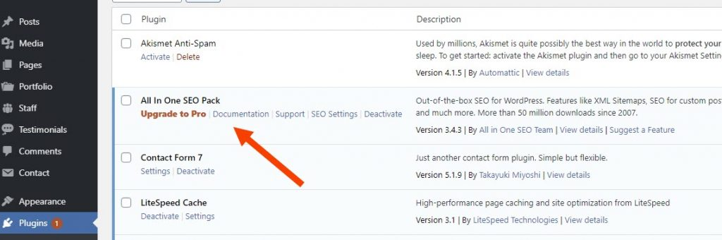 activate plugin All in One SEO