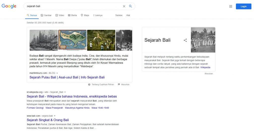 sejarah bali mesin pencari google
