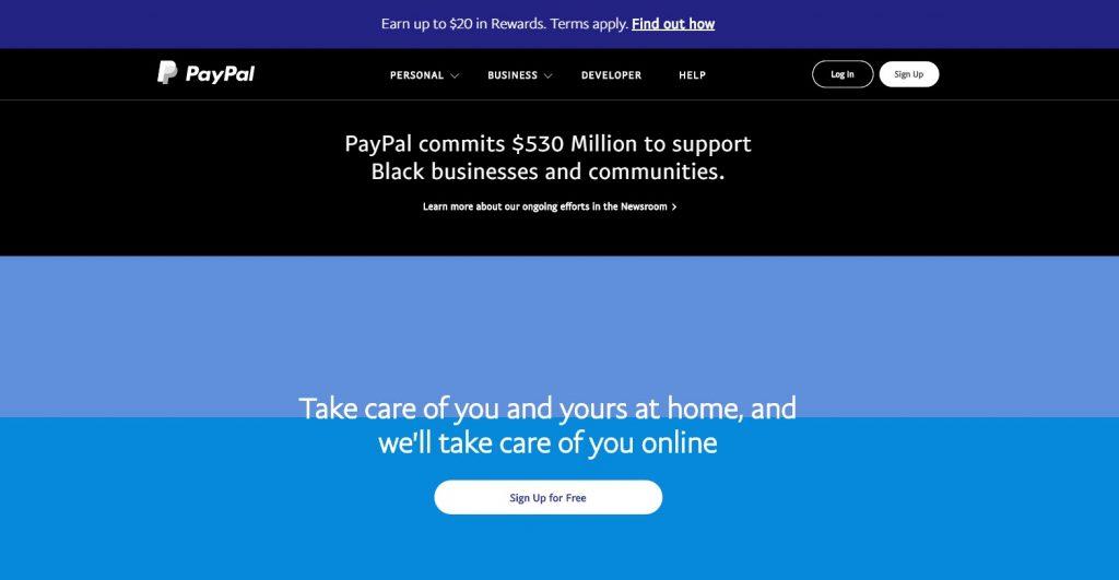 website paypal menggunakan warna biru