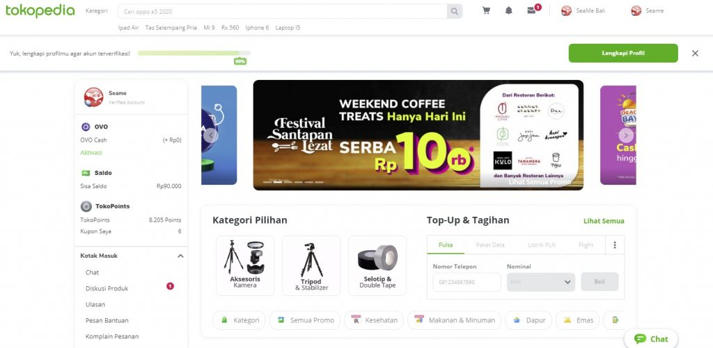 website tokopedia menggunakan warna hijau