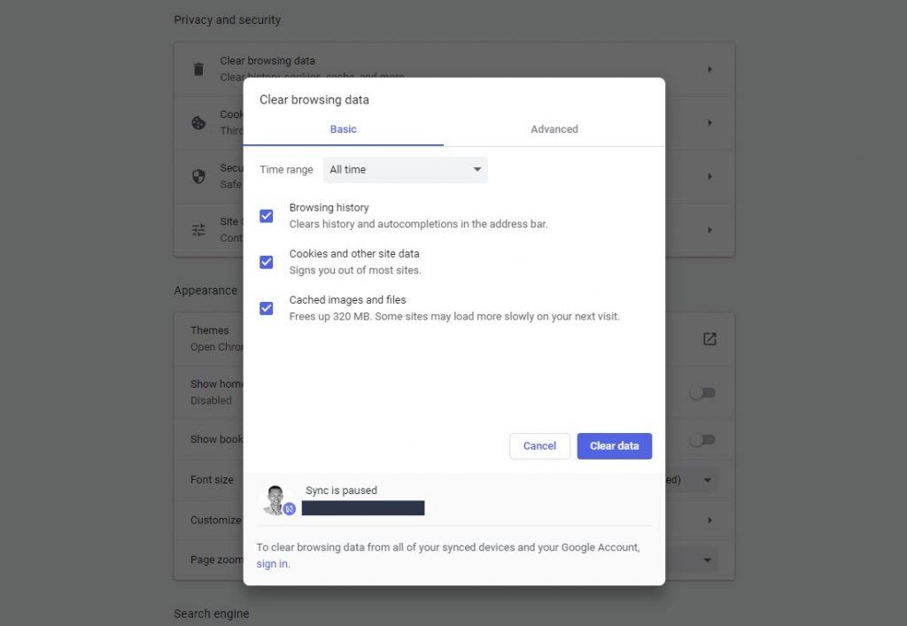 Klik clear browsing data