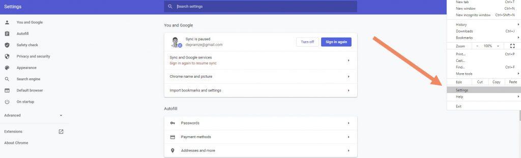 klik settings di chrome