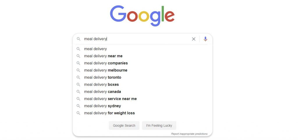 meal delivery Google Auto suggestions