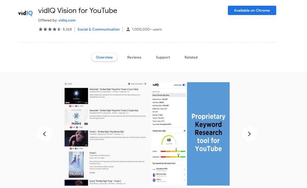 vidIQ Extension Google Chrome Terbaik