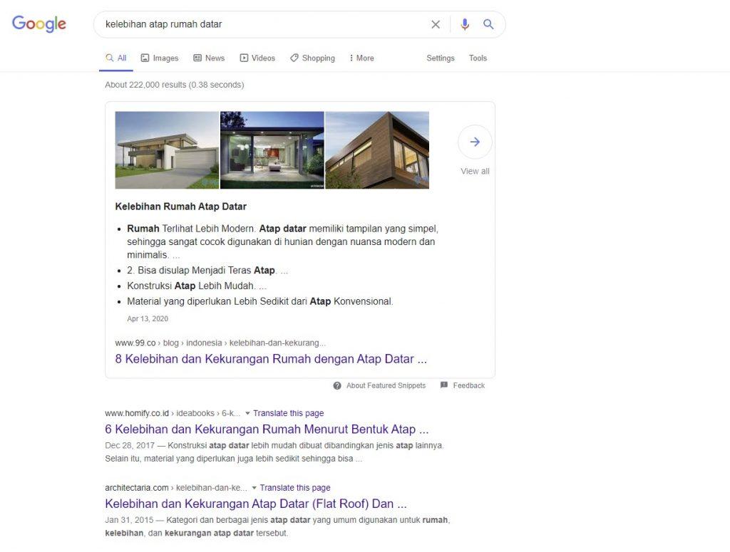 Contoh keyword kelebihan atap rumah datar untuk Cara Membuat Artikel untuk Website Bisnis Online