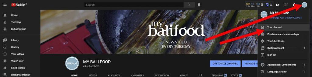 klik your channel youtube
